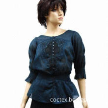 Blouse, embellished with embroidery and button down